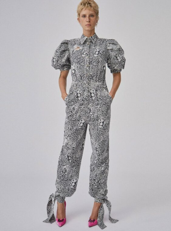 Women's Denim Leopard Printed Overall