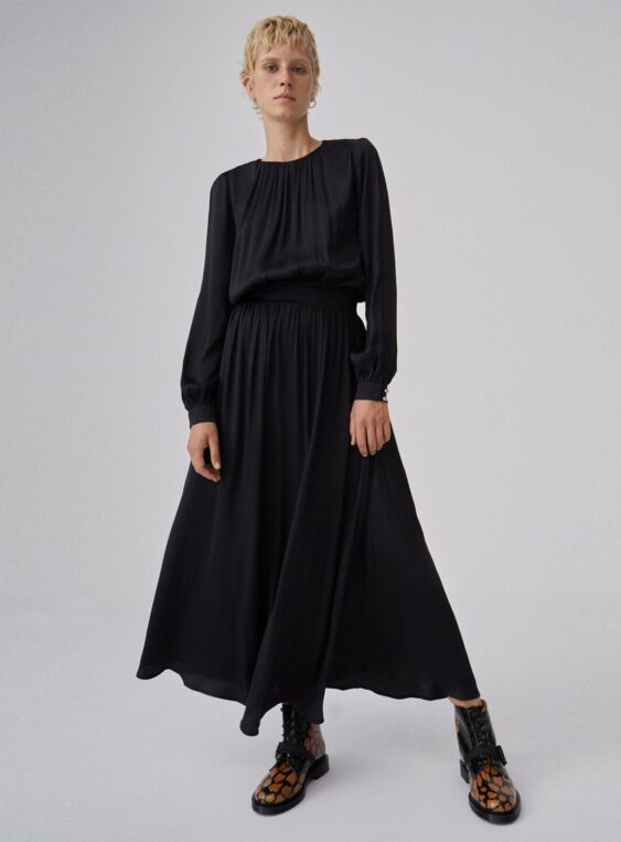 women's maxi dress with sleeve slits