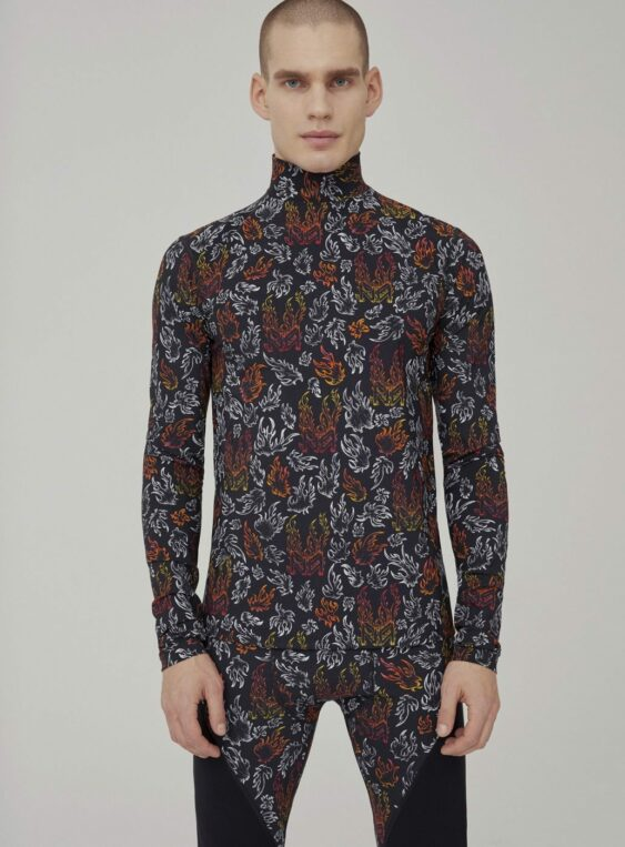 men's printed bodycon turtleneck